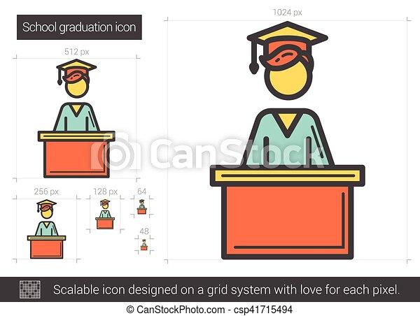 El icono de la línea de graduación de la escuela. - csp41715494
