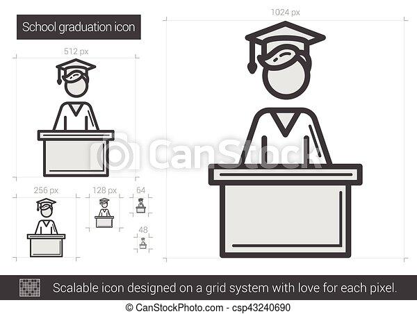 El icono de la línea de graduación de la escuela. - csp43240690