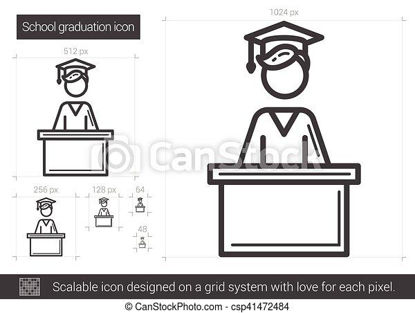 El icono de la línea de graduación de la escuela. - csp41472484