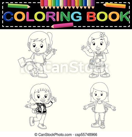 Escuela, libro colorear, niños. Escuela, libro colorear, ilustración ...