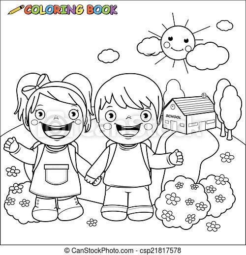 Escuela, libro colorear, niños. Page., colorido, contorno, niño ...