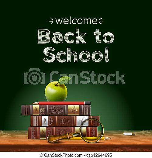 escuela, manzana, escuela, espalda, desk., libros - csp12644695