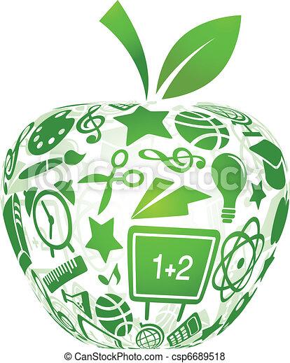 escuela, manzana, iconos, -, espalda, educación - csp6689518