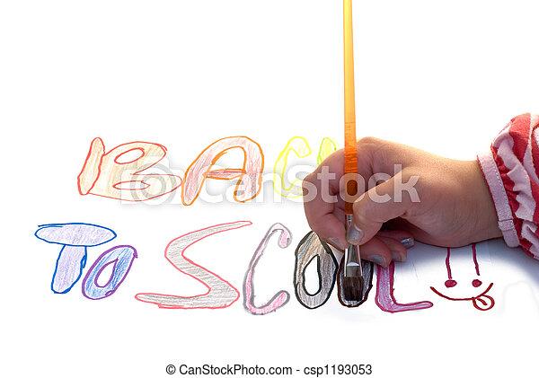 escuela, pintura, espalda - csp1193053
