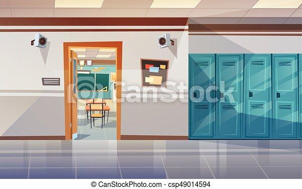 Corredor de la escuela vacío con taquillas abiertas puerta a sala de clases - csp49014594