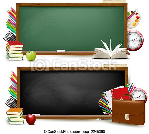 De vuelta a la escuela. Dos pancartas con suministros escolares. Vector. - csp12245390