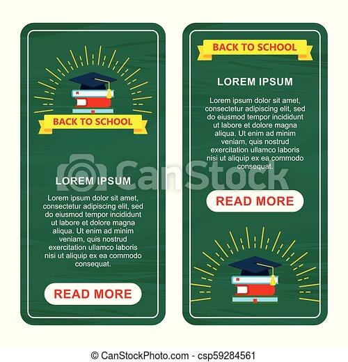 De vuelta a la escuela dos banderas verticales verdes - csp59284561