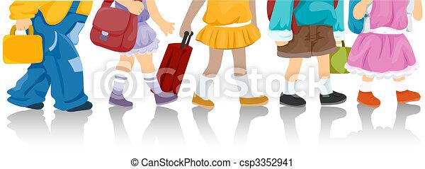 Niños yendo a la escuela - csp3352941