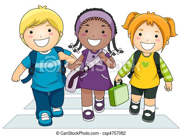 Niños yendo a la escuela - csp4757082