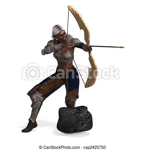 escuro, arqueiro, duende, femininas - csp2425750