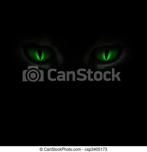 escuro, cat\'s, olhos, verde, glowing - csp3405173