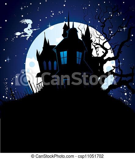 escuro, dia das bruxas, costas - csp11051702