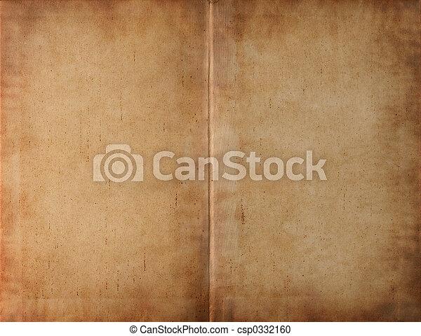 escuro, emporcalhado, desdobrado, livro, papel - csp0332160
