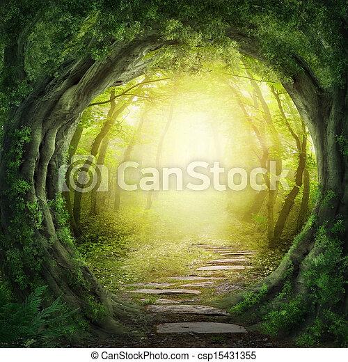 escuro, floresta, estrada - csp15431355