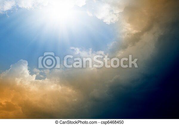 escuro, sol, luminoso, nuvens - csp6468450
