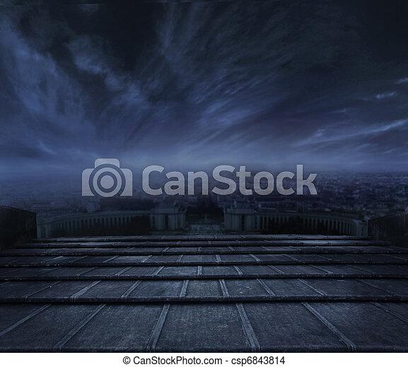 escuro, urbano, sobre, nuvens, fundo - csp6843814