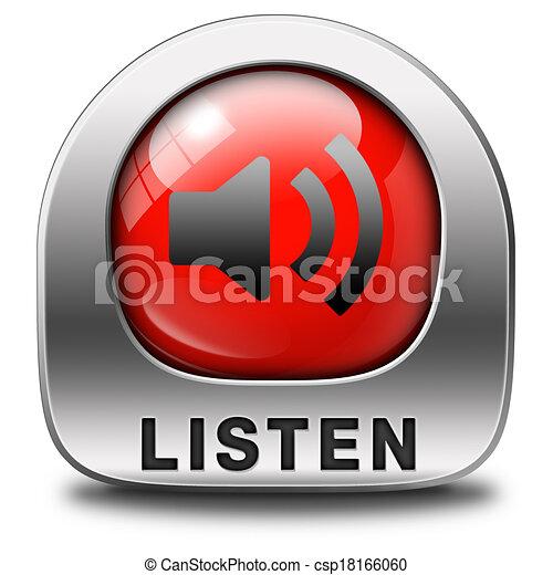 escutar, ícone - csp18166060