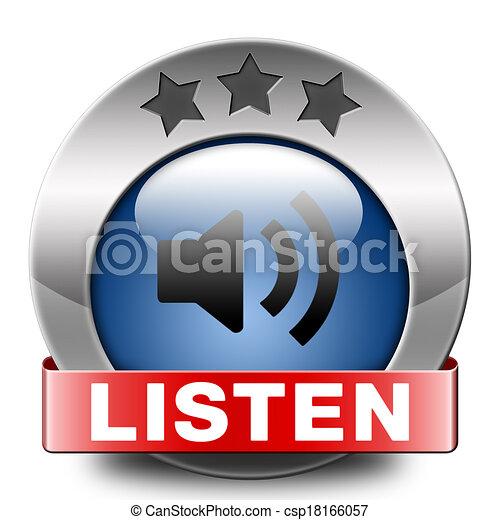 escutar, ícone - csp18166057