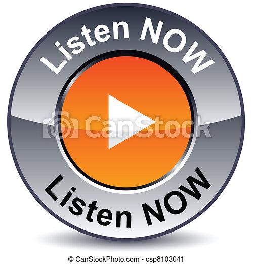 escutar, agora, button., redondo - csp8103041