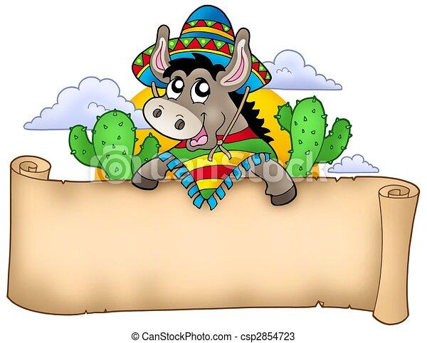 esel, mexikanisch, pergament, besitz - csp2854723