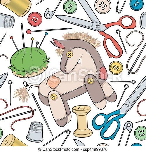 Esel, spielzeug, muster, nähen, seamless, accessoirs, vektor ...