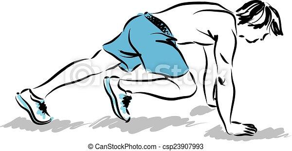 esercizi, atleta, stiramento, illinois, uomo - csp23907993
