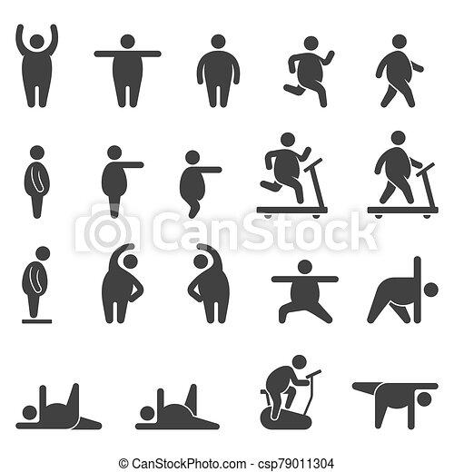 esercizio, grasso, corpo, aerobico, icone, vettore, illustrations. - csp79011304