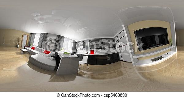 esférico, panorama, desenho, sala - csp5463830