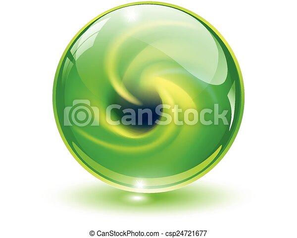 esfera, 3d, cristal, vidro - csp24721677