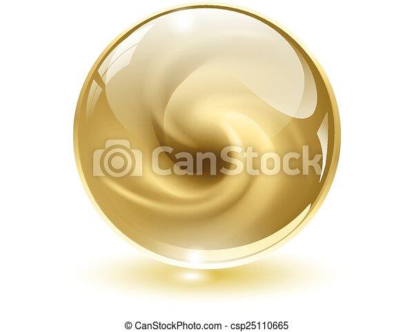 esfera, 3d, cristal, vidro - csp25110665