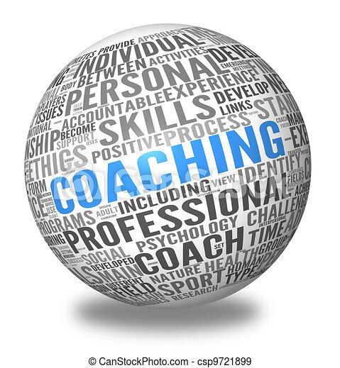 El concepto de entrenador en Esfera tag Cloud - csp9721899