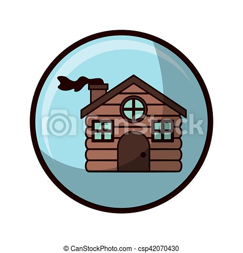 Esfera de cristal con casa hecha de madera - csp42070430