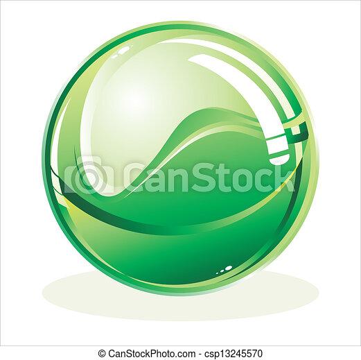 Esfera verde brillante - csp13245570