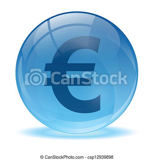 Esfera de vidrio 3D y icono euro - csp12939898