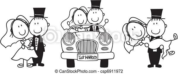 esküvő, karikatúra, meghívás - csp6911972