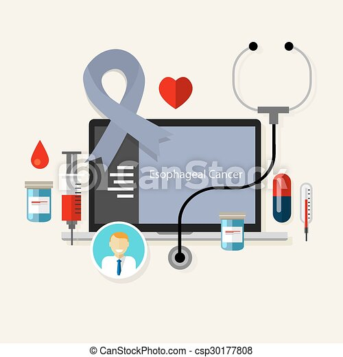 esophageal cancer medical ribbon treatment health disease - csp30177808