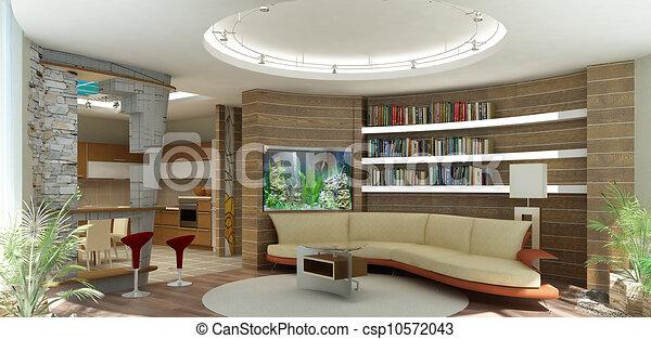 espèce, barre, salle, mur, moderne, rendering., dessin, shelfs, aquarium,  intérieur, 3d, étagère, cuisine