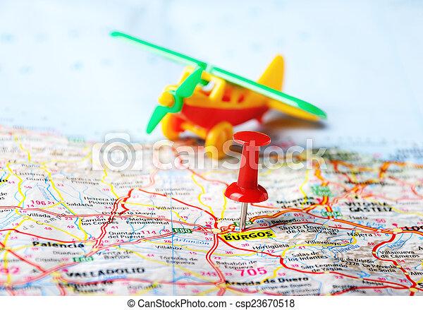 Mapa De España Burgos.Espana Burgos Avion Mapa Mapa Burgos Juguete Viaje
