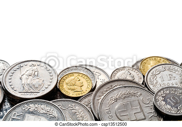 espace, bord, tas, francs suisses, copie - csp13512500