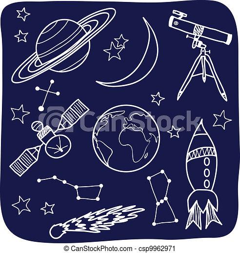 espace, ciel, -, objets, nuit, astromomie - csp9962971