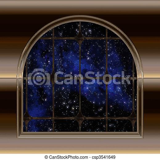 espace, ciel, regarder, fenêtre, nuit, ou, dehors - csp3541649