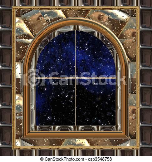espace, ciel, regarder, fenêtre, nuit, ou, dehors - csp3548758
