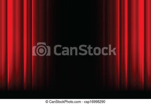 espace, lumière, rideau noir, ombre, rouges, étape - csp16998290