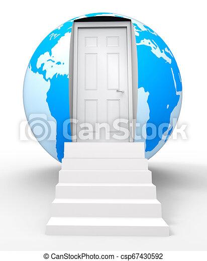 espace, maison, globe, plus grand, illustration, maison mobile, moyens, plus, plus grand, 3d - csp67430592