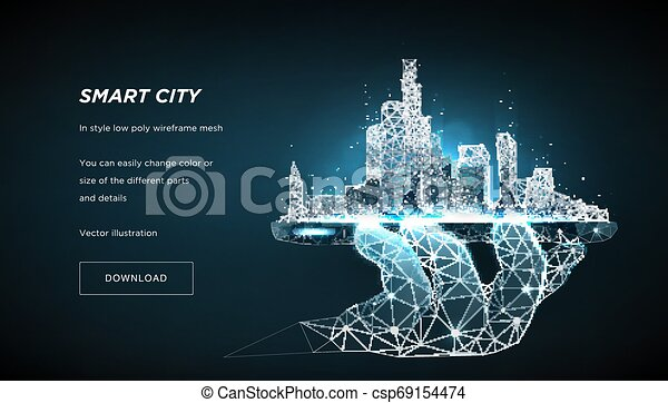 espace, résumé, wireframe, metropolis., polygonal, téléphone., poly, points, concept, arrière-plan., gérer, vecteur, ville, connecté, bleu, lines., intelligent, bas, avenir, 3d, ou - csp69154474