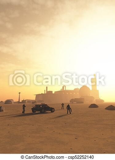 espacio, avanzada, futuro, marinos, desierto, se acercar - csp52252140