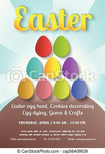 Poster para el día de Pascua con huevo. Escena de primavera con folletos espaciales de texto, estandarte y diseño de plantilla. - csp56408639