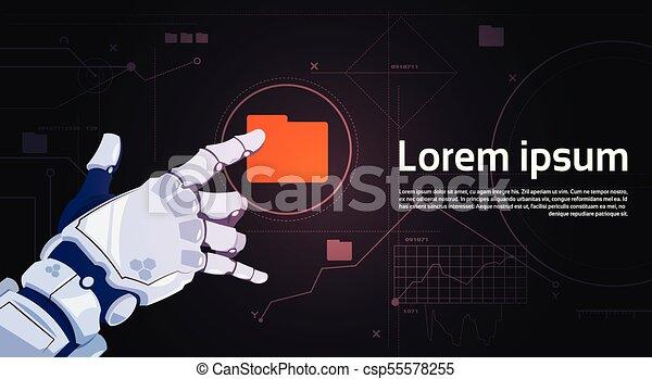 Botón de carpeta de archivo robótico en pantalla digital con espacio de copia - csp55578255