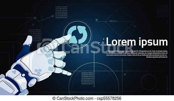 Botón de actualización del sistema de manos robot en pantalla digital con espacio de copia - csp55578256