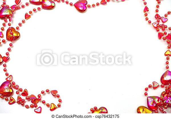 espacio de copia, cuenta, frontera, corazón rojo, marco, fondo blanco - csp76432175